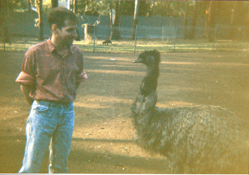 Randy with an emu in Sydney (probably 1987)