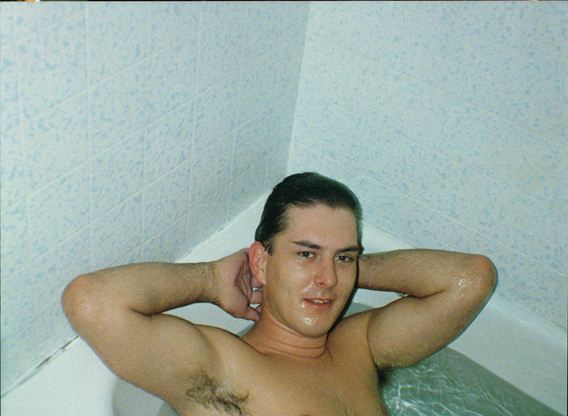 Danny in the tub in the Moss Point apartment in Laguna Beach