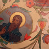 Painted flower design and holy figure inside orthodox church of Cathedral St. Vasily the Blessed (Saint Basil's) in Moscow Russia