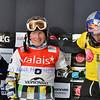 VEYSONNAZ, SWITZERLAND - JANUARY 19: 2012 World Champion A Boldykov (RUS), 2nd Holland (USA), 3rd Vaultier (FR) at FIS World Championship Snowboard Cross finals : January 19, 2012 in Veysonnaz Switzerland