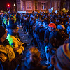 Protesters stop at a police line before the Mass Ave. bridge in Cambridge, Mass. during a protest demanding justice for Michael Brown and Eric Garner on Friday, Dec. 5, 2014. (Scott Eisen for The Boston Globe)