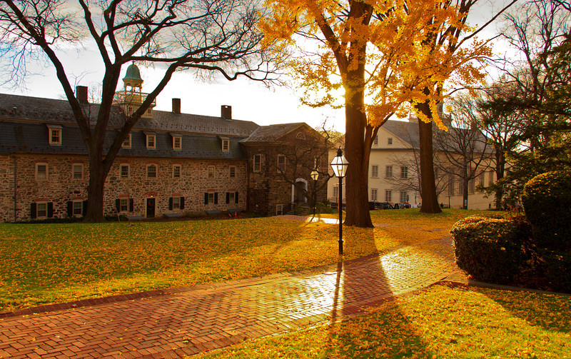 The campus of Moravian College, covered in autumn leaves.