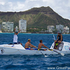Team Uniting Nations approaches the finish line in Waikiki. PHOTO COURTESY GREAT PACIFIC RACE