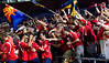 Arizona United players celebrate Jonathan Top's second-half goal with members of La Furia Roja.