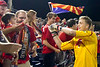 Arizona United Goalkeeper Evan Newton greets fans following Arizona United's 2-1 victory over Sacramento Republic on April 19, 2014.