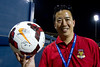 Arizona United SC Owner Kyle Eng displays an autographed ball presented to him following Arizona United's 2-1 victory over Sacramento Republic on April 19, 2014.