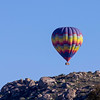 Hot Air Balloon over rocks on nearby hills from Wilderness Lakes, Thousand Trails RV Park, Menifee, CA. March 2, 2013