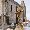 Ornate Cross and Cemetery at Church of Notre Dame, Colleville-sur-Mer