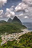 Town of Soufriere in St Lucia with Pitons in the background