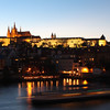 Long exposure photo captures the movement of one of the many boats along the Vltava River in Prague.