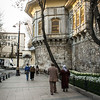 Turks walk around the outer wall of Gülhane Park, the site of the royal grounds of Topkapı Palace, Istanbul.