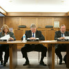 Commisioners review the budget presented by Rick Farmer, executive director of the Worker's Compensation Commision.