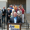 Oklahoma gubernatorial candidate Joe Dorman held a press conference to address the firing of employees from the Worker's Compensation Court in Oklahoma CIty.