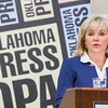 Gov Mary Fallin speaking at this year's Oklahoma Press Association convetion at the Reed Center in Mid-West City, OK.