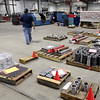 Machined oilfield tool parts sit on a pallet at the Kline Tools warehouse in Tulsa.