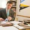 Oklahoma State Senator David Holt working in his office at the state capitol.