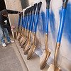 Kendall Lance, with Irish Reality, paints shovels in preperation of an up coming ground breaking cerimony.