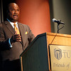 Mike Dubose, V.P of WW Granger gives his presentation at the Friends of Finance luncheon in Tulsa Wednesday.