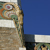 Art Deco animal motifs adorn the crown of the Pavilion on the Tulsa County Fairgrounds.