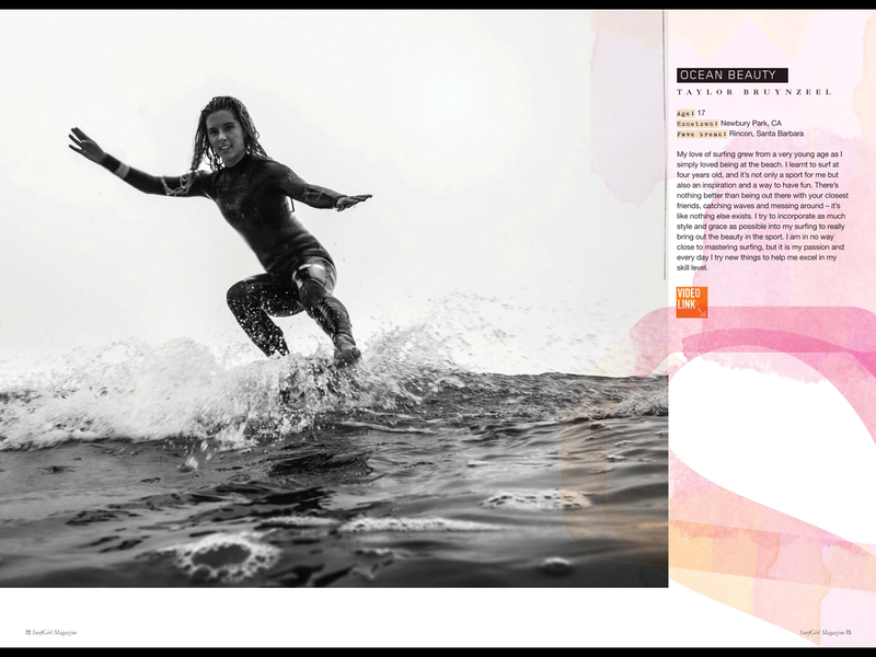 A feature shot of Taylor Bruynzeel published in issue #49 (Winter 2014) of Surfgirl Magazine.