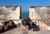 A canon pointed seaward at the San Felipe del Morro Castle in San Juan, Puerto, Rico, West Indies.