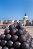 The lighthouse and canon balls at the San Felipe del Morro Castle in San Juan, Puerto Rico, West Indies.