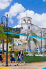 School girls in uniform cross the street at the church in Yabucoa, Puerto Rico, West Indies.