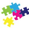 5 puzzle pieces - color