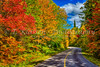 Brilliant fall foliage color in the mountains of Mont-Tremblant National Park, Quebec, Canada.