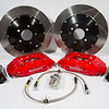 4 Piston Front Brake Kit w/2 Piece Slotted Rotors for 2005-2014 Mustang - Red (401599)
