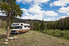 A dispersed campsite along the North Fork of the Little Laramie River, Medicine Bow National Forest, Wyoming, USA.