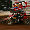 Dave Berkheimer powers out of Turn 2 at Williams Grove at dusk.