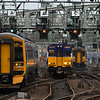 158734, 314208, 156465, outside Glasgow Central along with a Class 380 at Bridge Street Junction