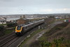 Class 221 5 Car Super Voyager DEMU Set passes Marazion with 1S47 0828 Penzance to Glasgow Central.<br /> 20th December 2014