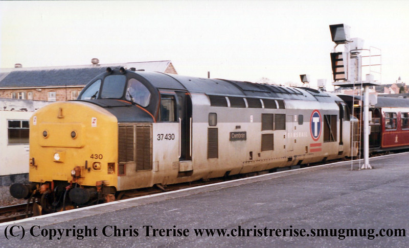 "Class 37 Diesel Locomotive number 37 430 named ""Cwmbran"" is seen at Inverness.<br /> 19th April 1996"