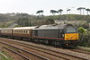 """Class 67 Diesel Locomotive number 67 006 named """"Royal Sovereign"""" is seen stabled at Penzance with the Royal Statesman stock.<br /> 18th April 2015"""