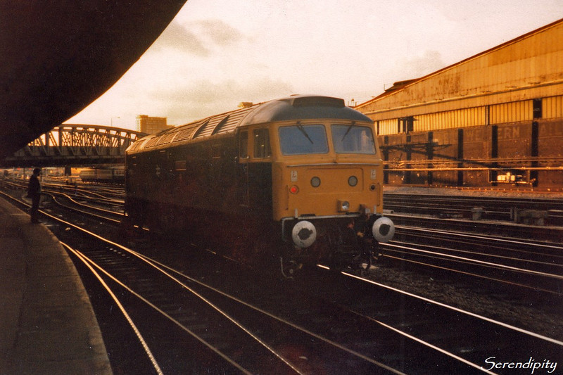 47500 Great Western <br /> <br /> After arriving at Paddington with the Honeycombe Heritage Special charter on 29 September 1984 the stock was released and 47500 proceeded light to Old Oak.<br /> <br /> (1277)