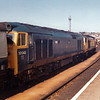 50043 Eagle & 50012 Benbow  Standing with vans for an evening departure at Park Sidings, Plymouth, on 16 August 1981.  (0044)