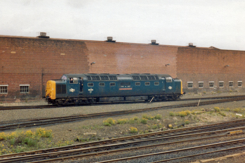 55013 The Black Watch   After working 1N12, the 00:05 Kings Cross - Newcastle sleeper service, 55013 manoeuvres around Gateshead TMD on 6 June 1981.  (0009)