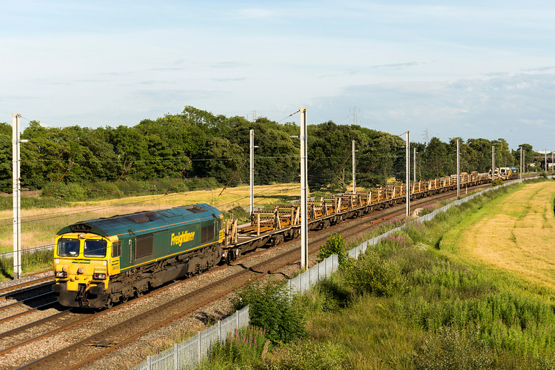 66508 with 66956 on the rear - 6Y24 Crewe - Shap  engineering train - 5 July 2014 passing, where else, but Winwick