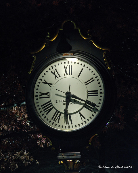 11.19.2013  A large clock lit up at night in downtown Keene, NH