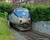 07.23.2014 <br><br>Amtrak's northbound Vermonter train comes out of a small tunnel in Bellows Falls, VT