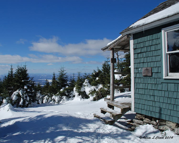 03.10.2014  Another picture from yesterday's hike.  This is the Cabot Cabin about 1/4 mile from the summit of Mt. Cabot.  The small and remote cabin has a great view