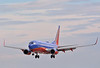 Southwest Boeing 737 on finals as the sun sets  McCarran International Airport Las Vegas,