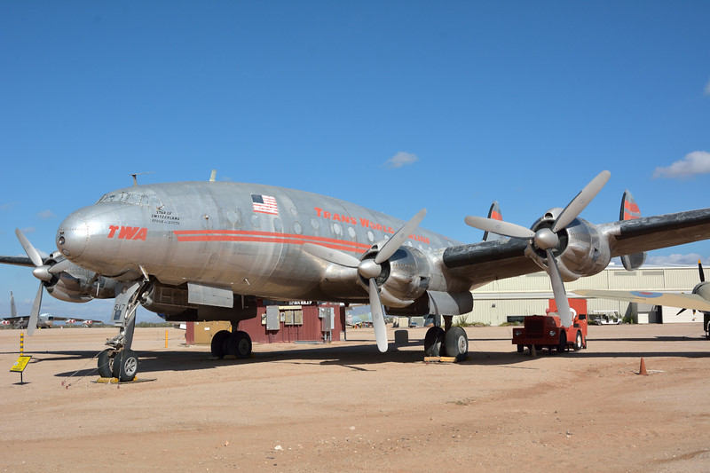 Lockheed L-049 Constellation  <br /> Civil Registration N90831<br /> Originally designed for Trans World Airlines, it is possibly one of the best of the post-World War II piston-engine airliners.<br /> Decorated with the markings of Trans World Airlines.