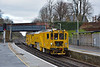 Network Rail  Multi Purpose  Stoneblower DR80302 ambles through Virginia Water as it travels from Hither Green P.A.D. to Maindee Depot.<br /> <br /> 28 January 2015