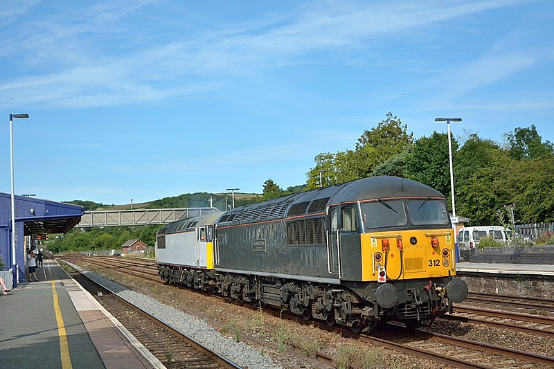 56103 and 56312 pass Totnes working 0Z57 from Plymouth to Washwood Heath.<br /> <br /> 17 July 2014
