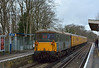 73128 sits on the rear of  test train 1Q24 as it passes Thames Ditton  whilst working down to Hampton Court.<br /> Lead loco is 73136 but the train will reverse after a short layover for the return run to Hither Green<br /> <br /> 25 February 2015