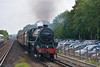 LMS Class 5MT 4-6-0 No 44932  roars through West Byfleet with 1Z22 The Swanage Belle from Victoria<br /> <br /> 19 June 2014