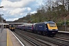 Power cars 43070 /43002 speed through Weybridge with 1V78 18.10 service from Waterloo to Penzance <br /> Desiro 450077 has just halted with 2L62 the17.50 from Basingstoke to Waterloo<br /> <br /> 12 April 2015